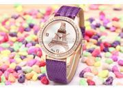 Dalas Luxury Rose Gold Case Crystal Quartz Eiffel Tower Lady Girl Purple Leather Watch