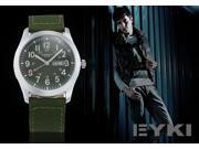 New EYKI Army Green Nylon Date Steel Case Analog Japan Quartz Men's Sport Wrist Watch EKI070