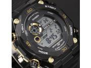 Men's LCD 7 Color Backlight Digital Date Day Stopwatch Black Rubber Sport Wrist Watch OHS198