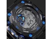Mens MultiColor Backlight Digital Date Day Stopwatch Black Rubber Sport Wrist Watch OHS199