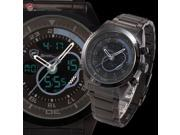 Shark Mens Digital Analog Date Day Stopwatch Alarm Black Plated Stainless Steel Quartz Sport Watch SH140