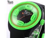 TENDENCE - Ten Beats Tekno Unisex Black Green Sillicone Quartz Sport Wrist Watch - BF130204