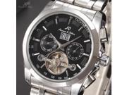 KS Mens Tourbillion Automatic Date Day Month Black Dial Analog Mechanical Watch KS195