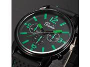 Timebear Fashion Men's Analog Quartz Sport Green Black Silicone Strap Wrist Watch WAA755