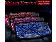 Three Color Backlit M200 Molten Multimedia Ergonomic Gaming Keyboard with Blue/Red/Purple LEDs