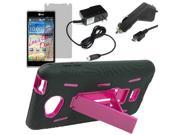 Armor Protector Hard Cover Shield Case w/ Stand For LG Spirit 4G MS870 + LCD + Car + Home Charger