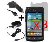 3x Pre-Cut Custom Fitted LCD Display Screen Protector For Samsung Galaxy Rugby Pro i547  + Car Home Charger