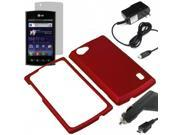 Rubberized Protector Snap On Hard Cover Case For LG Optimus M+ MS695 + LCD + Car + Home Charger