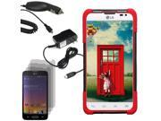 Hybrid Protector Hard Stand Case LG Optimus L70 Exceed 2 Realm 3 LCD Car Home Charger
