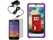 Hybrid Protector Hard Shell Stand Case LG Optimus L70 Exceed 2 Realm LCD Home Charger