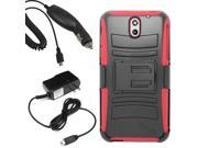 Armor Hard Shield Holster Clip Combo Cover Case For HTC Desire 610 + Car Home Charger