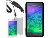 Hybrid Hard Shell Stand Cover Case For Samsung Galaxy Alpha G850 LCD Car Charger