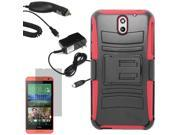 Armor Hard Shell Holster Clip Combo Case For HTC Desire 610 LCD Car Home Charger