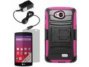 Armor Hard Shell Holster Case For LG Tribute LS660 Optimus F60 Transpyre LCD Home Charger