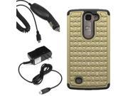 Hybrid Dazzle Hard Shell Stand Cover Case For LG Magna H502G x Car Home Charger