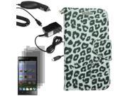 Leather Flip Wallet Case Cover For ZTE Lever LTE Z936L x 3 LCD Car Home Charger