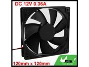 1225 7 Blades 4 Pin 120mm 12cm PC Computer Case Cooling Fan Black DC 12V 0.36A