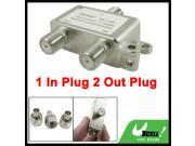 1 In Plug 2 Out Plug Coaxial Cable Connector Directional Splitter