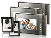"""7"""" LCD Video Door Phone Doorbell Home Security Intercom with 3 Monitors 2 Cameras"""