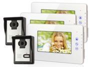 "7"" LCD Touch Key Video Entry Door Phone Doorbell Intercom 2 Cam + 3 Monitor/C1"