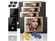 """Wired 8"""" inch LCD Color Recording Video Door Phone Intercom Doorbell 2 Camera 4 Monitor RFID Access Control Security Entry System with 4GB SD Card"""