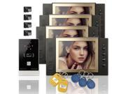 """Wired 8"""" inch LCD Color Recording Video Door Phone Intercom Doorbell 1 Camera 4 Monitor RFID Access Control Security Entry System with 4GB SD Card"""