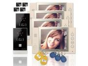 """Wired 8"""" inch LCD Color Recording Video Door Phone Intercom Doorbell 2 Camera 4 White Monitor RFID Access Control Security Entry System with 4GB SD Card"""