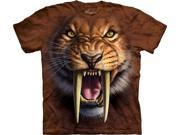 Sabertooth Tiger Face Adult T-Shirt by The Mountain - 10-3338