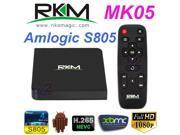 NEW Rikomagic MK05 Amlogic S805 Quad Core Android 4.4 Smart TV Box WIFI XBMC Bluetooth Cortex A5 1.5GHz 1GB DDR3 RAM 8GB Nand Flash Media Player