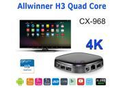 NEW CX968 Quad Core Allwinner H3 4K HD Android 4.4 OTT TV Box Mini PC H.265 Kodi XBMC Bluetooth WiFi Media Player HDMI 2160P
