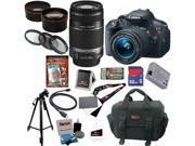 Canon t5i EOS Rebel T5i 18.0 MP CMOS Digital Camera with EF-S 18-55mm f/3.5-5.6 IS STM Zoom Lens + EF-S 55-250mm f/4.0-5.6 IS Telephoto Zoom Lens + Telephoto & Wide Angle Lenses + 12pc 32GB DSLR Kit