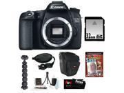 """Canon 70d EOS 70D 20.2 MP Digital SLR Camera w/ Dual Pixel CMOS AF (Body Only) + 32GB Memory Card + Camera Case w/ Shoulder Strap + Photography DVD Guide + Spider Tripod 10"""" + Accessory Kit"""