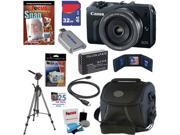 CANON EOS M 18.0 MP Compact Systems Mirrorless Digital Camera with EF-M 22mm f/2 STM Lens + LP-E12 Battery + 9pc Bundle 32GB Deluxe Accessory Kit