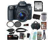 Canon 70d EOS 70D SLR CMOS 20.2MP Digital Camera EFS 18-55mm Lens + 32GB Memory Card + Tiffen 58mm UV Protector + Universal Memory Card Reader + Kit