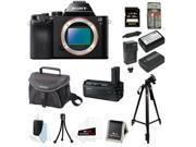 Sony ILCE7/B 24.3 MP a7 Full-Frame Interchangeable Digital Lens Camera (Body Only) + Sony 64GB Class 10 SD Card + Sony Case + Sony VGC1EM Vertical Battery Grip + Wasabi NP-FW50 Battery & Charger + Kit