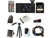 SONY DSC-RX100 RX100 RX100B DSCRX100 20.2 MP Exmor CMOS Sensor Digital Camera with 3.6x Zoom Bundle with Sony 64GB class 10 Memory Card + Wasabi Power Replacement NP-BX1 Battery + Sony Camera Case Kit