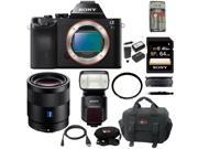 Sony a7s: Alpha a7S ILCE7SB Compact Interchangeable Lens Digital Camera with Sony Sonnar T* FE 55mm f/1.8 ZA Lens SEL55F18Z and Sony Flash + 64GB best mirrorless camera Kit