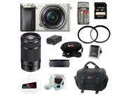 Sony A6000 ILCE6000L/S Alpha A6000 Mirrorless Digital Camera (Silver) with 16-50mm and 55-210mm Lens Bundle and 32GB Bsest Mirrorless Camera Kit