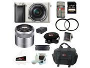 Sony A6000 ILCE6000L/S Alpha A6000 Mirrorless Digital Camera (Silver) with 16-50mm and 30mm Lens Bundle and 32GB Best Mirrorless Camera Kit