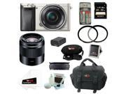 Sony A6000 ILCE6000L/S Alpha A6000 Mirrorless Digital Camera (Silver) with 16-50mm and 50mm Lens Bundle and 32GB Best Mirrorless Camera Kit