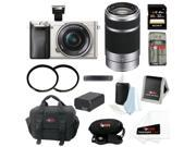 Sony a6000 Alpha ILCE6000L/S 24.3 MP Interchangeable Lens Camera with 16-50mm Power Zoom Lens (Silver) + Sony 55-210mm f/4.5-6.3 Telephoto Lens + Sony 32GB SD Card + Two Tiffen UV Filters + Kit