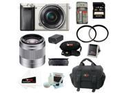 Sony ILCE6000L/S Alpha A6000 Mirrorless Digital Camera (Silver) with 16-50mm and 50mm Lens Bundle and 32GB Accessory Kit