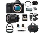 Sony ILCE7/B 24.3 MP a7 Full-Frame Interchangeable Digital Lens Camera (Body Only) with Sony 16-35mm Vario-Tessar T FE F4 ZA OSS E-Mount Lens and 64GB Deluxe Accessory Kit