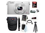Fujifilm XQ1 12MP Digital Camera with 3.0-Inch LCD (Silver) plus 32GB Deluxe Accessory Bundle