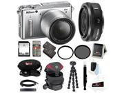 Nikon 1 AW1 14.2 MP Digital Camera w/ AW 11-27.5mm Lens (Silver) plus Nikon 1 10mm Lens + 64GB Accessory Deluxe Kit