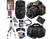 Nikon D5200 24.1 MP CMOS Digital SLR Camera (Bronze) with 18-55mm f/3.5-5.6G AF-S DX VR Lens and Sigma 70-300mm f/4-5.6 SLD DG Macro Lens with built in motor + 10pc Bundle 32GB Deluxe Accessory Kit