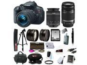 Canon t5i EOS Rebel T5i 18.0 MP CMOS Digital Camera with EF-S 18-55mm f/3.5-5.6 IS STM Zoom Lens + EF-S 55-250mm f/4.0-5.6 IS Telephoto Zoom Lens + Telephoto & Wide Angle Lenses + 12pc 32GB DSLR Kit