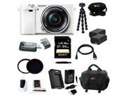 Sony Alpha a6000 Interchangeable Lens Camera with 16-50mm Power Zoom Lens (White) with 64GB Deluxe Accessory Bundle