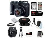 Canon G16 PowerShot G16 12.1 MP CMOS Digital Camera Bundle with 32GB SD Memory Card + Card Reader + Small Case + Replacement Battery for Canon NB-10L + Wrist Grip Strap + Best Camera Kit