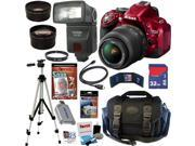Nikon D5200 24.1 MP CMOS Digital SLR Camera (Red) with 18-55mm f/3.5-5.6 AF-S DX VR NIKKOR Zoom Lens + Automatic TTL Flash + Telephoto & Wide Angle Lenses + 10pc Bundle 32GB Deluxe Accessory Kit